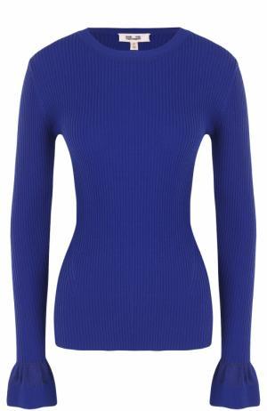 Пуловер фактурной вязки с расклешенными рукавами Diane Von Furstenberg. Цвет: синий