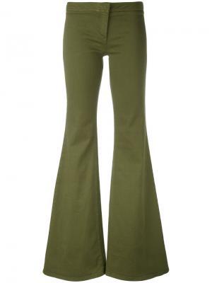 Расклешенные брюки Balmain. Цвет: зелёный