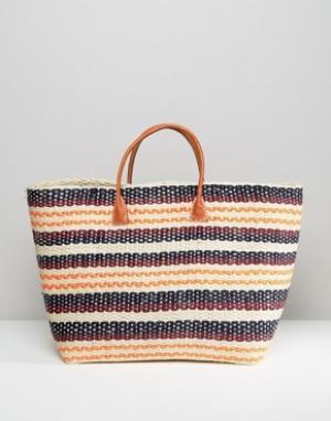 Hat Attack Соломенная сумка-тоут в полоску Provence. Цвет: мульти