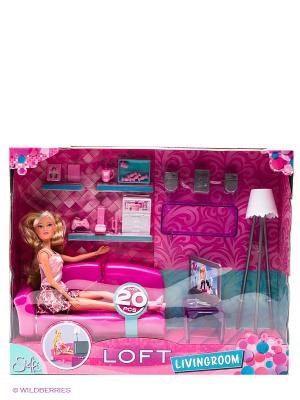 Штеффи в гостиной + аксессуары, 29 см., 1/8 Simba. Цвет: розовый