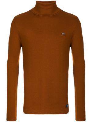 Пуловер с отворотной горловиной Bleu De Paname. Цвет: коричневый