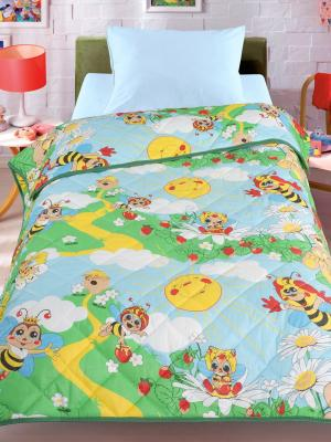 Покрывало-одеяло Пчела, 140х200см. Облегченное, стеганое, 100% хлопок. Letto. Цвет: зеленый, голубой, желтый
