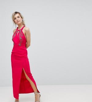 Little Mistress Длинное платье-халтер с отделкой Petite. Цвет: красный