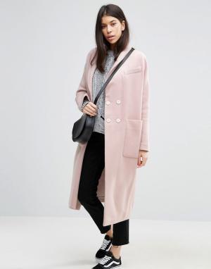 ASOS Пальто с добавлением шерсти. Цвет: розовый