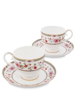 Чайный набор на 2 перс. Милано-Мариттима (Milano Marittima Pavone) Pavone. Цвет: белый, золотистый, розовый