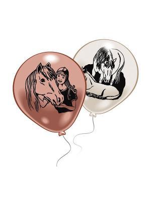 10 шариков с рисунком Лошадки Everts. Цвет: розовый