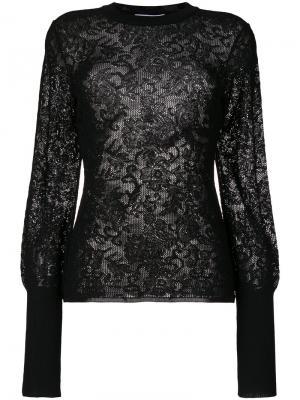 Прозрачный трикотажный топ с вышивкой Givenchy. Цвет: чёрный