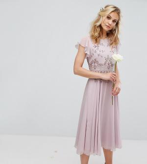 Maya Шифоновое платье миди с отделкой и расклешенной юбкой. Цвет: фиолетовый