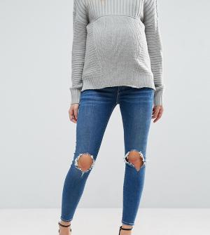 ASOS Maternity Темные выбеленные джинсы скинни с рваной отделкой и посадкой под живот. Цвет: синий