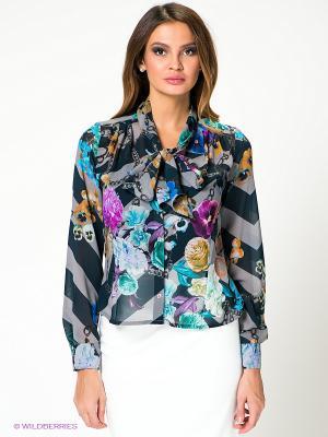 Блузка KEY FASHION. Цвет: серый, фиолетовый, темно-синий