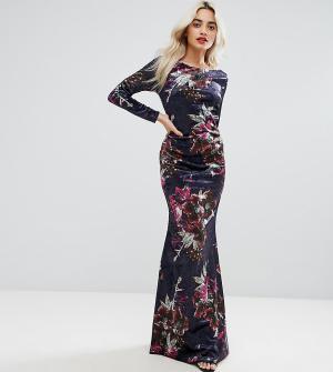 City Goddess Petite Бархатное платье макси с длинными рукавами. Цвет: красный