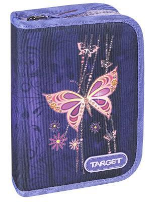 Пенал с канцтоварами Золотая бабочка Target. Цвет: сливовый, оранжевый, темно-фиолетовый