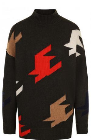 Кашемировый свитер свободного кроя с высоким воротником Victoria Beckham. Цвет: коричневый