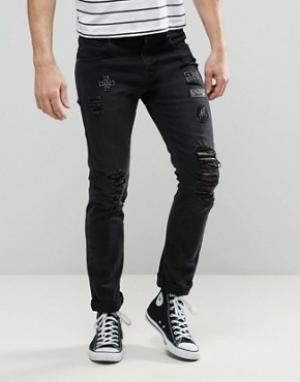Always Rare Черные джинсы скинни с нашивками Tyler. Цвет: черный