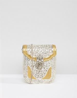 Park Lane Металлическая сумка с гравировкой ручной работы. Цвет: серебряный