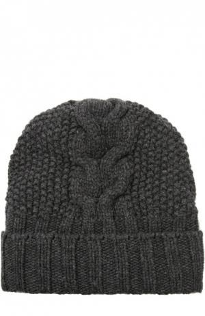 Шапка фактурной вязки из кашемира Kashja` Cashmere. Цвет: темно-серый