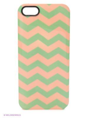 Чехол для iPhone 5/5s Zigzag Green & Pink Kawaii Factory. Цвет: зеленый