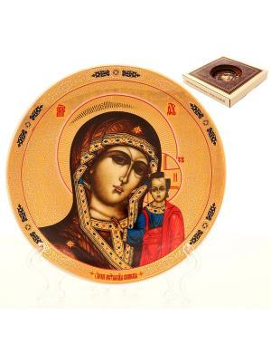 Тарелка декоративная Казанская Божья Матерь Elan Gallery. Цвет: золотистый, коричневый