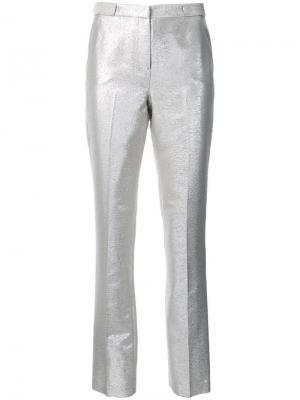 Классические брюки кроя слим Bianca Spender. Цвет: металлический