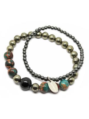 Комплект браслетов из пирита и гематита. KARMONIA. Цвет: зеленый, серый, темно-коричневый