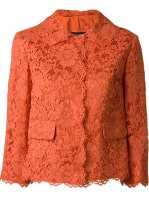 Кружевной жакет с цветами Dolce & Gabbana. Цвет: жёлтый и оранжевый