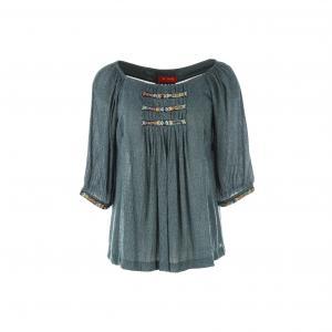 Блузка с рукавами 3/4 и вышивкой RENE DERHY. Цвет: сине-серый