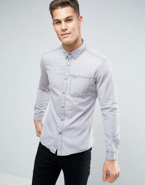 Esprit Узкая джинсовая рубашка с нагрудным карманом. Цвет: серый