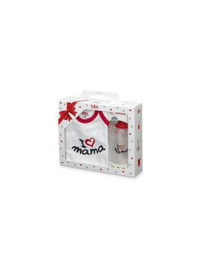 Подарочный набор Bibi, Боди (рост 62 -68 см)+ бутылочка 250 мл. Papa the best Bibi.. Цвет: красный, белый