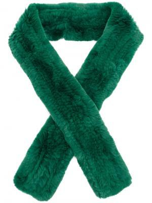 Классический шарф Yves Salomon Accessories. Цвет: зелёный