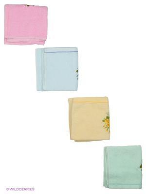 Набор полотенец 4 предмета 40х70 Фиалка. La Pastel. Цвет: розовый, желтый, зеленый, голубой