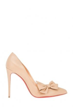 Кожаные туфли Madame Menodo 100 Christian Louboutin. Цвет: натуральный
