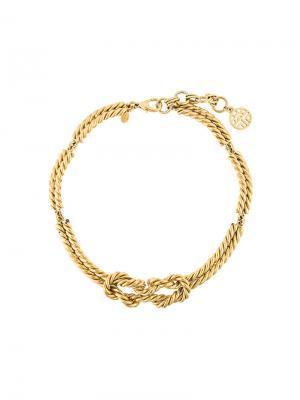Ожерелье с узлом Louis Feraud Vintage. Цвет: жёлтый и оранжевый