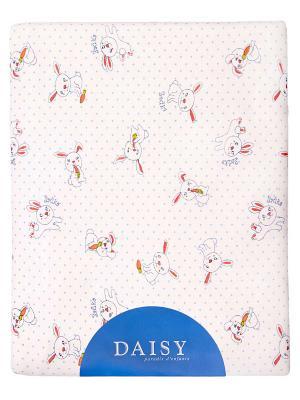 Одеяло трикотажное 75х90 Зайка DAISY. Цвет: голубой, коралловый, белый