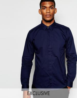 Wincer & Plant Строгая рубашка слим из стретчевого хлопка со скрытой планкой. Цвет: темно-синий