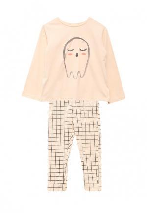 Пижама Mango Kids. Цвет: бежевый