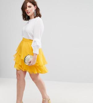 ASOS Curve Ярусная мини-юбка. Цвет: желтый