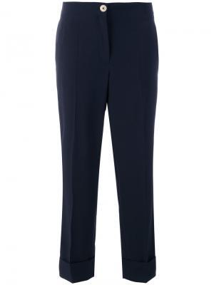 Прямые строгие брюки Salvatore Ferragamo. Цвет: синий