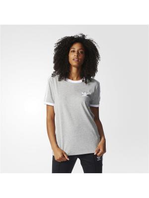 Футболка спортивная жен. 3STRIPES TEE Adidas. Цвет: серый