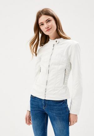 Куртка кожаная Fronthi. Цвет: белый