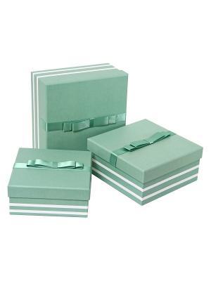 Коробка картонная, набор из 3-х квадратных. 15.5х15.5х6.5, 17х17х8, 19.5х19.5х9.5 см. VELD-CO. Цвет: салатовый