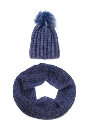 Комплект снуд и шапка Pretty Mania. Цвет: синий