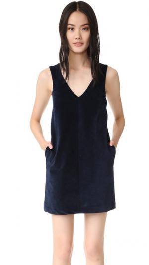 Вельветовое платье Mandarino Otto d'ame. Цвет: синий