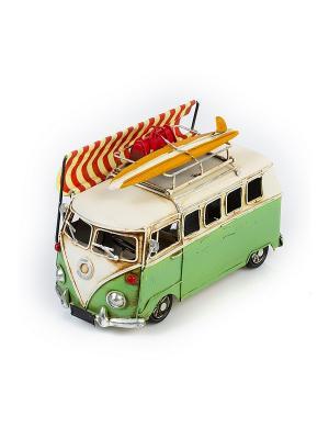 Модель Ретро Автобус зелёный с белым, фоторамкой  4х5см PLATINUM quality. Цвет: зеленый, белый