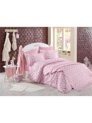 Кпб 1,5 сп. (Евро) поплин LUISA, розовый HOBBY HOME COLLECTION. Цвет: розовый