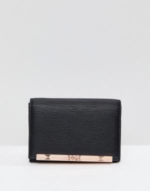 Ted Baker Маленький кошелек с металлической планкой. Цвет: черный