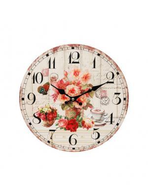 Часы настенные Розы и кофе, диаметр 34 см (112-CL ) Белоснежка. Цвет: кремовый, бледно-розовый, бронзовый