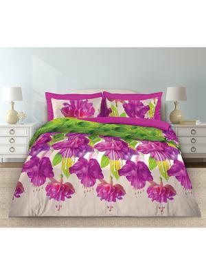 Постельное белье Любимый Дом. Цвет: фиолетовый, белый