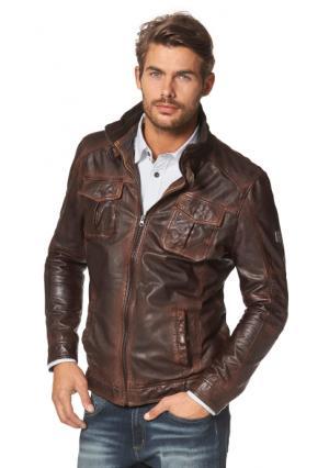 Кожаная куртка Rhode Island. Цвет: светло-коричневый/темно-коричневый