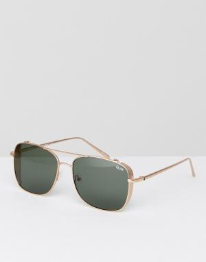 Quay Australia Золотистые квадратные солнцезащитные очки с планкой сверху Austra. Цвет: золотой