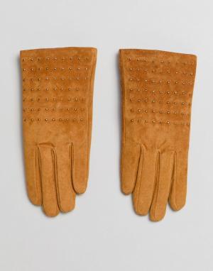 New Look Замшевые перчатки с заклепками. Цвет: желтый